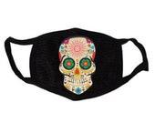 Sugar Skull Face Mask- Adult and Child Unisex Sugar Skull Face Mask- Day Of The Dead Face Mask- Dia De Los Muertos Mascaras-