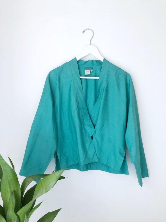 Vintage 90s KENZO PARIS SILK wrap shirt designer c