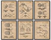 Vintage Star Trek Patent Poster Prints, Set of 6 (8x10) Unframed Photos, Wall Art Decor Gifts for Home, Trekkie, Man Cave, Sci Fi Fan, Nerd
