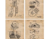 Indian Motorcycle Patent Poster Prints, 4 Unframed Photos, Wall Art Decor Gifts for Home Office Man Cave College Student Teacher Bike Fans