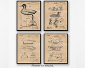 Vintage Duck Hunting Decoy Patent Poster Prints, Set of 4 Unframed Photos, Wall Art Decor Gifts for Home Office, Hunter, Man Cave, NRA Fan