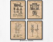 Vintage Railroad Train Patent Poster Prints, 4 Unframed Photos, Wall Art Decor Gifts for Home Office Man Cave Locomotive Steam Engine Fan