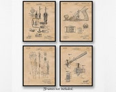 Vintage Woodworking Tools Patent Poster Prints, Set of 4 (8x10) Unframed Photos, Wall Art Decor Gifts for Home, Garage, Man Cave, Carpenter