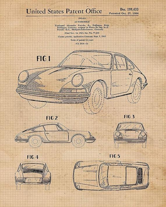 Porsche Set Of 3 Patent Prints Unframed Sports Car Poster Art Decor Gift