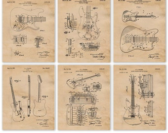 Fender Guitar Patent Poster Prints, 6 Unframed Photos, Wall Art Decor Gifts for Home Office Man Cave Music School Student Teacher Music Fan