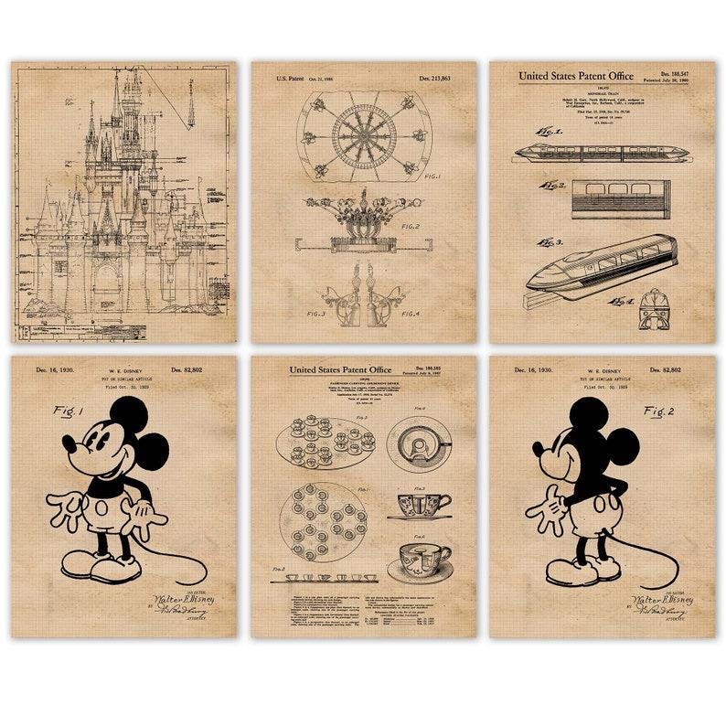 Vintage Disney Rides 25 Patent Poster Prints 6 Unframed image 0