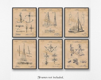 Vintage Sailing Patent Poster Prints, 6 Unframed Photos, Wall Art Decor Gifts for Home Office Man Cave Student Teacher Coach Boating Fans