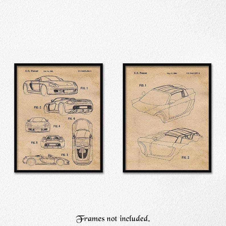 Vintage Porsche Carrera Gt Patent Poster Prints 2 Unframed Etsy