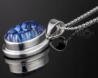 2 Square blue pendants antique silver tone FM178