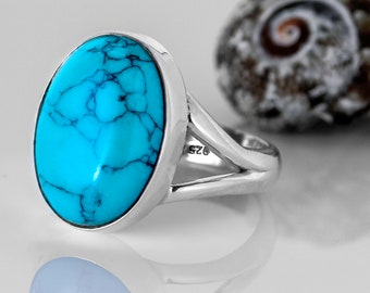 Natural Turquoise 925 Sterling Silver Oval Gemstone Gift Boxed - Statement ring - Turquoise jewellery / gemstone Boho jewelry