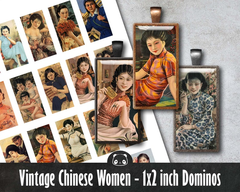 Vintage Ladies Domino Tiles 1 x 2 inch