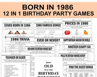 35th Birthday Party Games, Born in 1986 Birthday Game, Birthday Games Bundle, 1986, 1986 Trivia, fun 35th birthday party, PRINTABLE