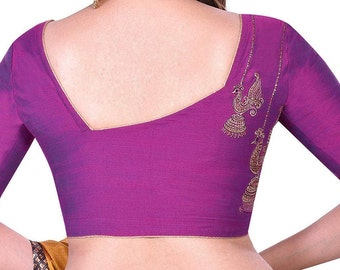 Blue Tussar Cotton Blouse Embroidered Ready made Choli Stitched Saree Blouse Top Tunic Blouse For Bridal Bridesmaid Wedding Wear Sari Blouse