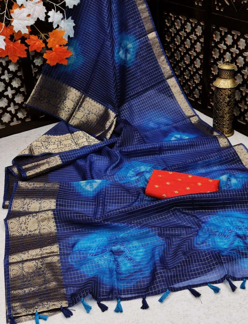 Beautiful Pure Organza Silk Shibori Printed Saree With Unstitched Contrast Sequence Work Blouse For Women Wedding Wear Party Wear Sari