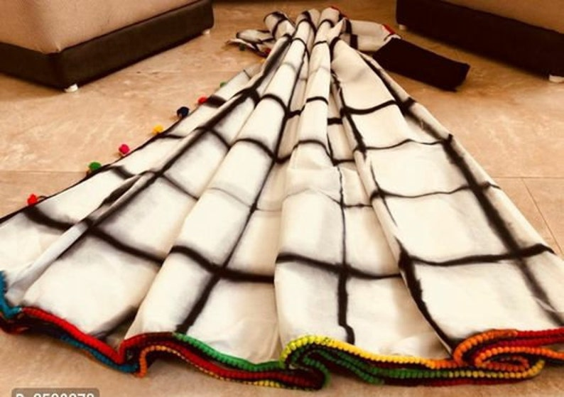 Multicolor Pure Mulmul Cotton Ikkat Printed Pattern Saree With Running Blouse For Women Wear,Party Wear,Wedding Wear,Festive Wear Sari