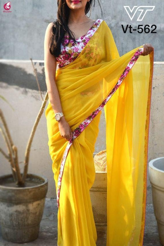 Beautiful Sequence Embroidered Work Designer Saree With Unstitched Running Blouse For Bridal Bridesmaid Wedding Festive Wear Designer Saree