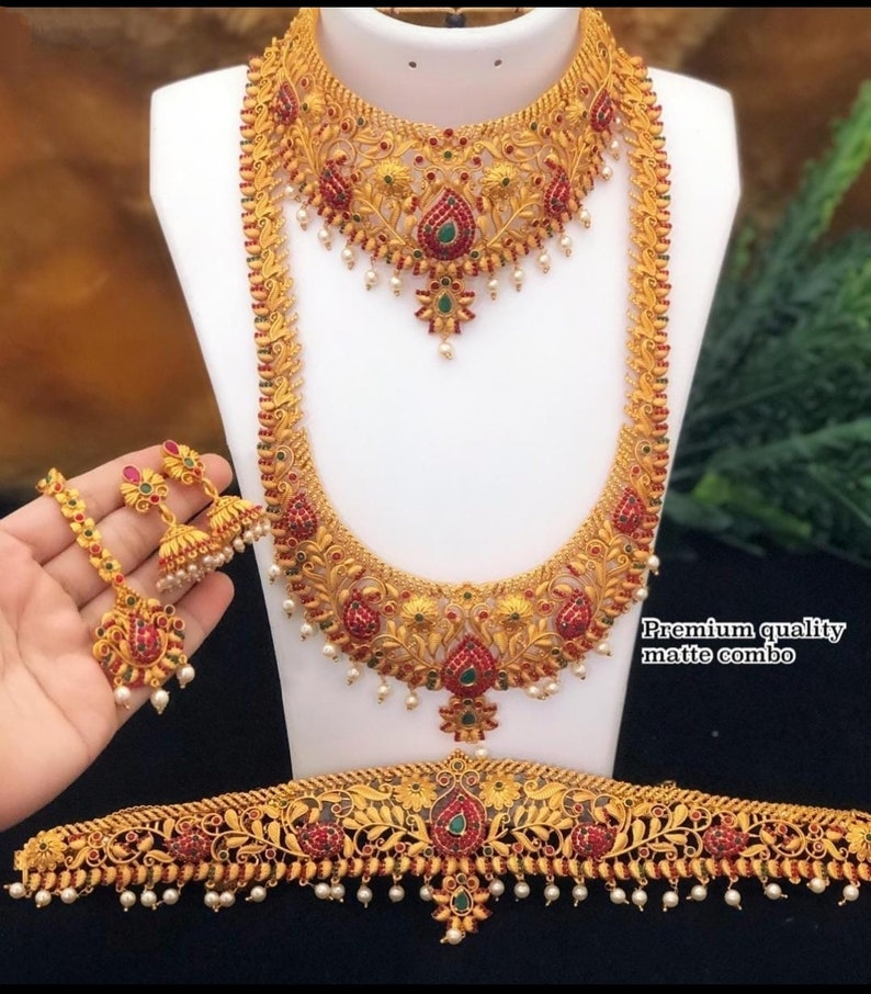 South Indian Golden Necklace /& Earrings Jewelry Set For Women WeddingFestive Wear Beautiful Designer Choker Necklace Jewelry Set