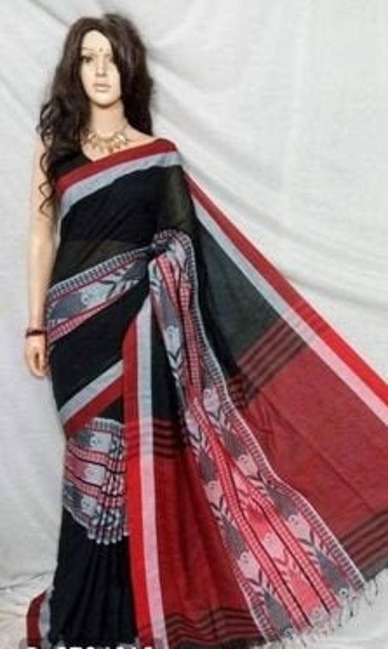 Pure Handloom Khadi Cotton Fish Motif Saree With Unstitched Running Blouse For Women Wear Wedding Wear Party Wear Sari