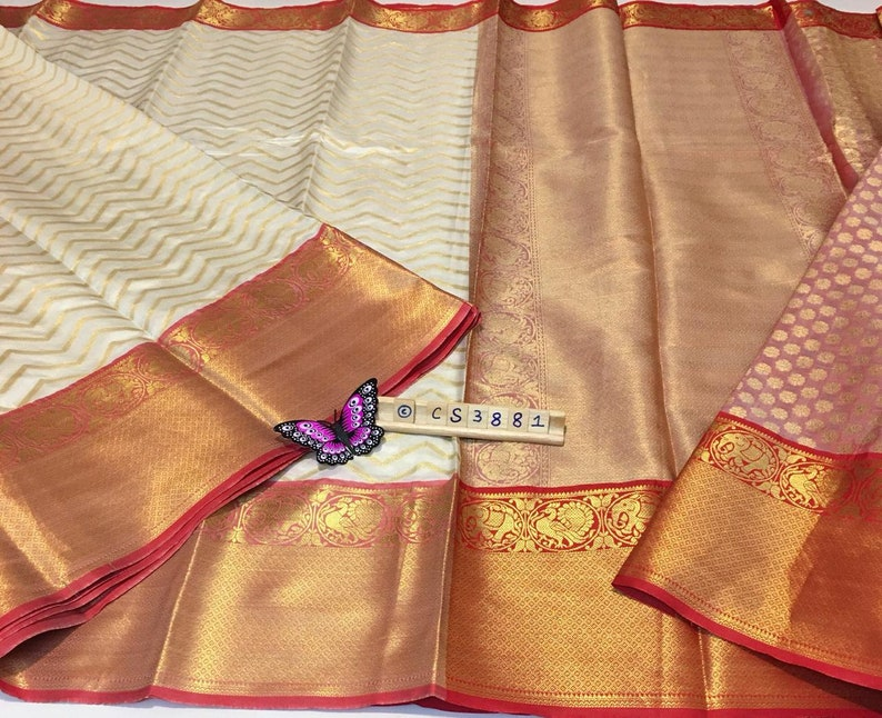 White Soft Banarasi Silk Weaving Zari Border Saree With Unstitched Blouse Bridal Wear FESTIVE SEASON Wear Wedding Wear Party Wear Sari