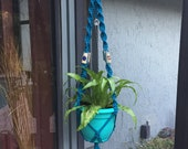 Macrame potted plant hanging crystal grid