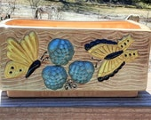 Retro Butterflies Grapes Planter, Rectangular Ceramic Container by Gare Inc 1973