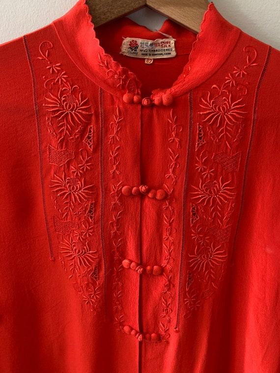 Vintage 1980's Chinese silk blouse in red