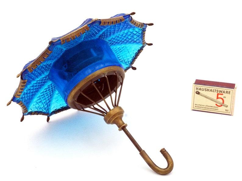 1920s Novelty Unusal German Umbrella Blue Art Déco Glass Brass Mantle Horloge