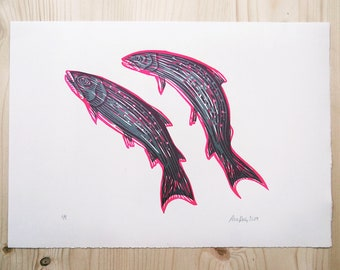 We Are Salmons linocut print