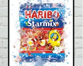 Candy packaging illustration A5 Red Linocut Print Haribo Goldbears Jellies
