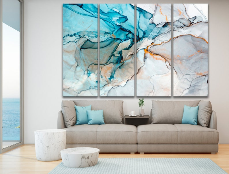 Abstract wall art Marble canvas print Marbling wall decor \u0421ontemporary art Marble wall art Abstract poster Abstract large marble blue art