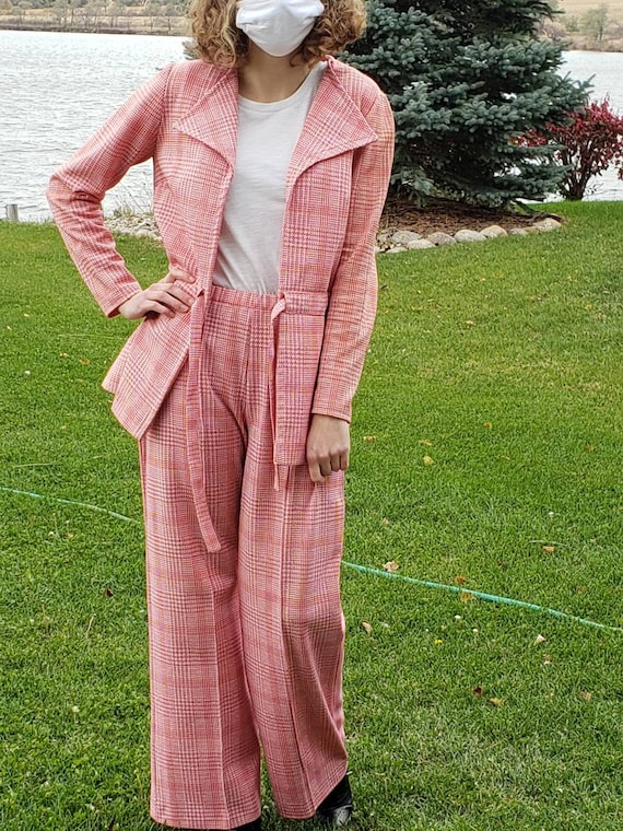 1970's Double Knit Jacket and Wide Leg Pants, Red