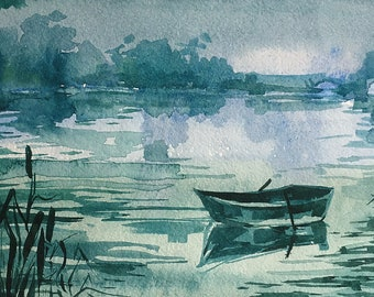Summer Landscape with a Lake and a Lonely Boat. Handmade Watercolor Painting by Vilebedeva on Paper.