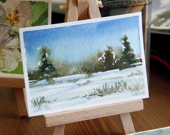 Watercolor ACEO Winter Green Fur Trees. Original Landscape Painting by Vilebedeva