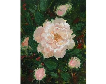 Roses Original Oil Sketch. Miniature Painting by Vilebedeva on Cardboard