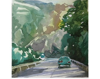 Road and Mountains Landscape Painting. Handmade Original Small Watercolor by Vilebedeva