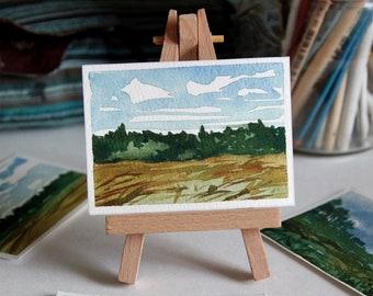 ACEO Watercolor Trees Meadow Landscape. Original Landscape Painting by Vilebedeva. Watercolor Artcard on Paper.