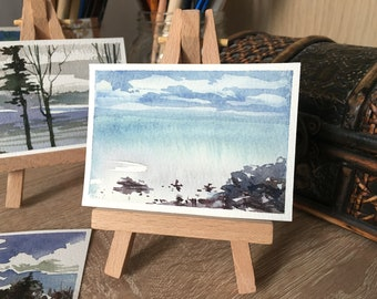 ACEO Watercolor Seascape in the Morning. Original Landscape Painting by Vilebedeva