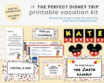 Disney World VACATION KIT - PDF Printable - Editable letter from Mickey, stroller sign, tickets, banners, mousekeeping envelopes