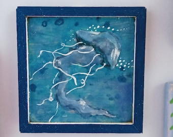 Miniature Original Hand Painted Framed Jellyfish Acrylic Painting Wall Art for Dollhouse