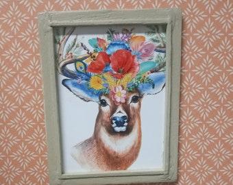 Miniature Deer with Flowers Framed Art Print for Dollhouse