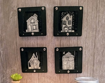 Miniature Original Tiny House Architectural Drawings framed in Upcycled Film Slides - One Of A Kind