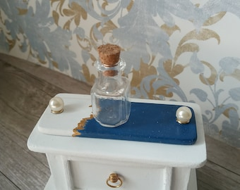 Miniature Decorative Table Tray in Blue, White and Gold for Dollhouse