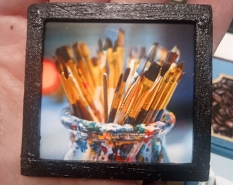 Miniature Photography Framed Print featuring Paintbrushes for Dollhouse