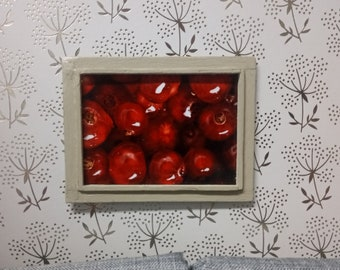 Miniature Red Pomegranate Seeds Photography Framed Print for Dollhouse