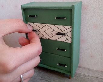 1:12 Handcrafted Miniature Wood Dresser for Dollhouse