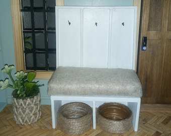 1:12 scale Custom Miniature Hall Bench with Seat for Dollhouse