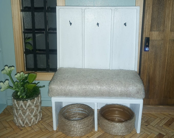 Featured listing image: 1:12 scale Custom Miniature Hall Bench with Seat for Dollhouse