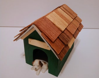 1:12 scale Miniature Forest Green Dog House for Dolls
