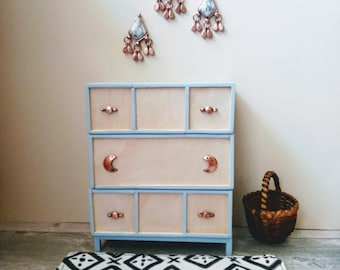 1:6 Handcrafted Miniature Natural Wood Dresser with Copper Moon Hardware for Dollhouse