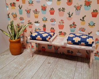 Miniature Distressed Bench Seating for Dollhouse